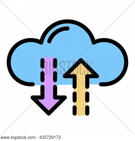 Interaction With The Cloud Icon. Outline Interaction With The Cloud Vector Icon Color Flat Isolated