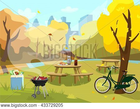 Vector Illustration Of Autumn Landscape In Park. Picnic Table With Sandwiches, Thermos And Wine. Bar