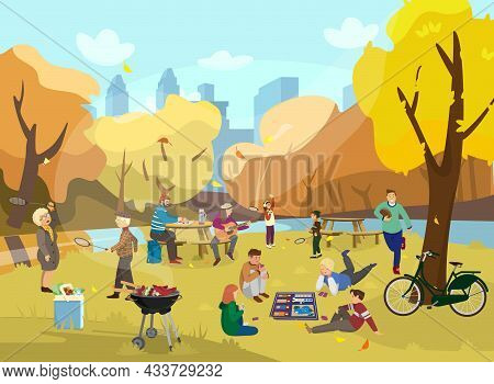 Autumn Park Scene With Lots Of People. Kids Playing Board Game, Elder People Playing Badminton,coupl