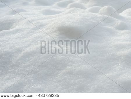Fresh Clean Snow Landscape For Background For Design. Frozen Snow Weather, Snowflakes Macro Image