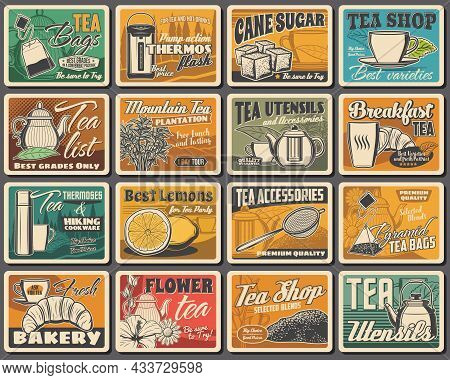 Tea Blends, Utensils And Bakery Shop Retro Posters Set. Vacuum Flasks, Cane Sugar And Lemons, Vector