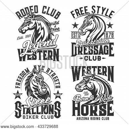 Horse T Shirt Prints, Equestrian Races And Biker Club Vector Emblem Icons. Wild Stallion And Heraldi