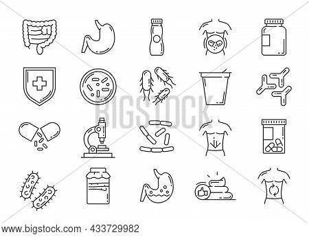 Probiotic, Lactobacillus And Prebiotic Bacteria Icons. Intestines Health Care, Digestion Problems Tr