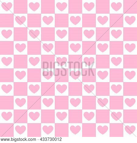 Vector Seamless Pattern Of Pink Colored Chess Board Checkered Texture And Hearts Isolated On White B