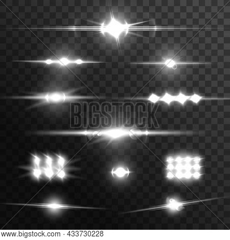 Lens Glow Flare Effect. Light Beams And Flashes Realistic Vector Set. Energy Explosion Burst, Energy