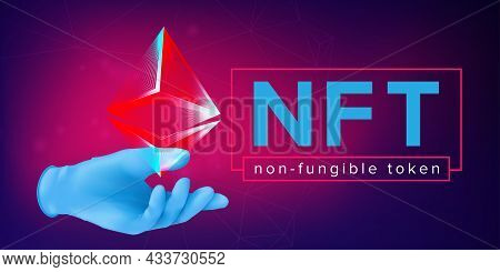 Human Hand In A Rubber Glove Holding An Abstract Pyramid Wireframe. Nft Non Fungible Token Horizonta