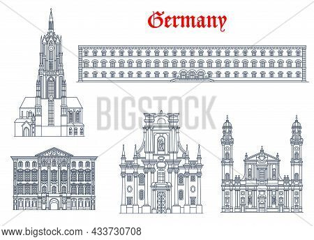 Germany Architecture, Munich Buildings And Travel Landmarks Of Bavaria, Vector. Theatine Church Of S