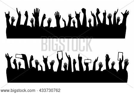 Musical Concert Hands Of People Crowd Silhouette, Vector Music Party Audience Background. Music Band