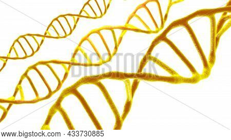 Viewed In An Electron Microscope Dna Molecules On A White Isolated Background. Biology And Biotechno