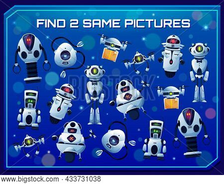 Find Two Same Robots Vector Kids Game And Education Puzzle. Matching Maze Game, Memory Or Attention