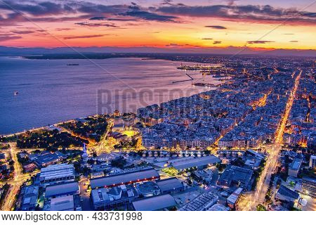 Aerial View Of The City Of Thessaloniki At Sunset