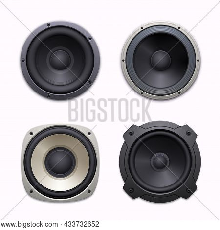 Sound Speakers, Stereo Audio Music System Icons. Sound System Woofers Or Drivers, 3d Realistic Vecto