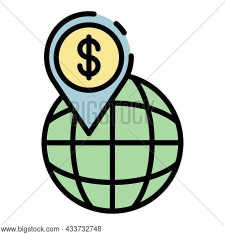 Gps Money Global Point Icon. Outline Gps Money Global Point Vector Icon Color Flat Isolated