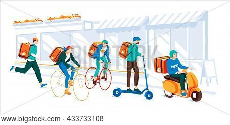 Delivery Service By The Different Types Of Transport In The City. Concept. Young People Doing Job Fa