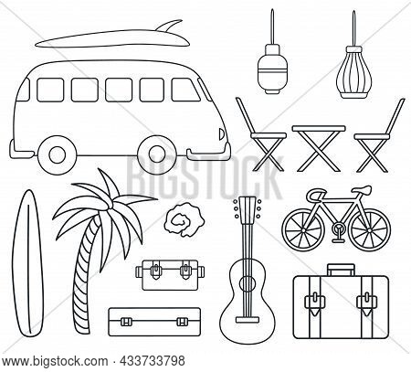 Set Of Isolated Van Life Doodles. Campervan Lifestyle Illustrations.