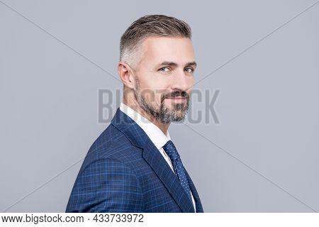 Mature Ambitious Man Businessman In Businesslike Suit Has Grizzled Hair, Success Portrait