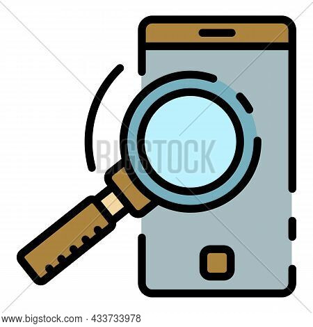 Smartphone And Magnifier Icon. Outline Smartphone And Magnifier Vector Icon Color Flat Isolated