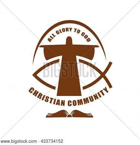 Christian Community Icon Of Jesus Christ And Fish Ichthys Religious Vector Symbol. Christianity Reli