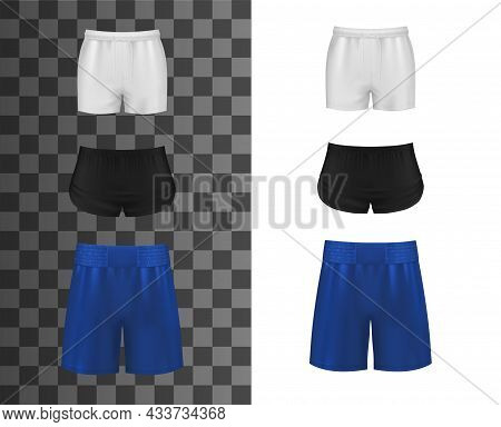 Athletic Shorts, Realistic Clothes Or Sport Pants, Vector Mockup Template. Sport Shorts For Soccer,