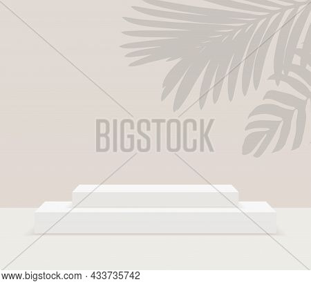 Rectangular White Stage Podium Iwith Shadow. Stage Vector Backdrop. Festive Podium Scene For Award C