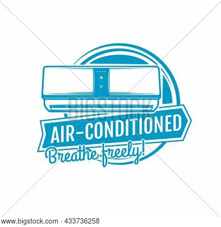 Air Conditioning Icon, Home Climate Control Appliances And Cooling Ventilation, Vector. Domestic Air