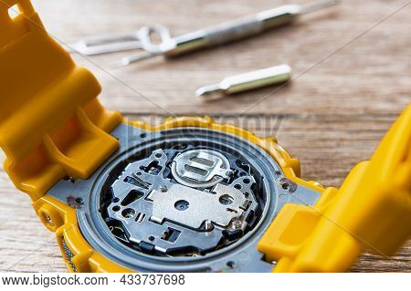 Close Up Clock Mechanism Automatic Type For Texture Maintenance Concept And Tool With Repair