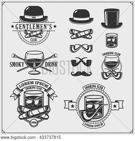 Gentlemen's Club. Set Of Emblems, Icons Of Accessories.