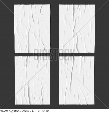 White Glued Wet Paper Posters. Wrinkled And Crumpled Fabric Or Paper Sheet 3d Vector Texture With Cr