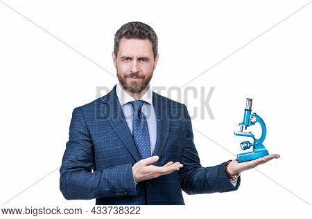 Entrepreneur Man In Suit Presenting Modern Microscope Isolated On White, Scientific Method.