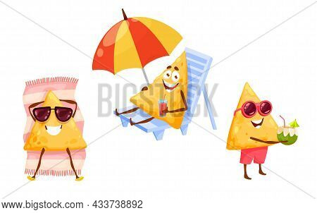 Mexican Nachos Chips On Summer Beach Leisure. Happy Vector Tex Mex Cartoon Characters In Sunglasses