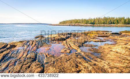 Rocky coastline in Acadia National Park in Maine