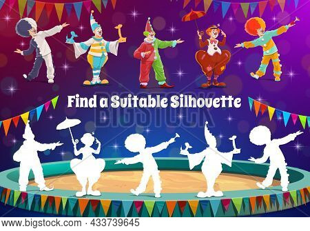 Find A Circus Clown Silhouette, Kids Game Or Riddle To Match Shadow. Vector Tabletop Puzzle. Find An