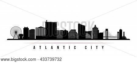Atlantic City Skyline Horizontal Banner. Black And White Silhouette Of Atlantic City, New Jersey. Ve