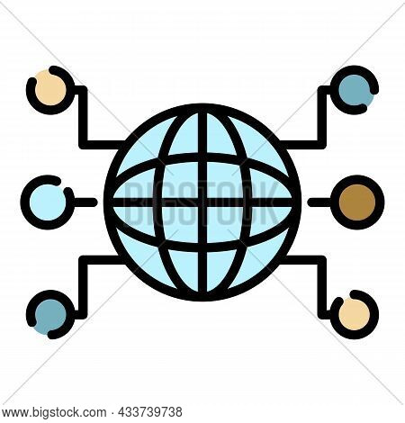 Globe And Remote Sites Icon. Outline Globe And Remote Sites Vector Icon Color Flat Isolated