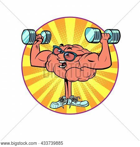 Morning Exercises, Lifting Dumbbells, Weightlifting Human Brain Character, Smart Wise