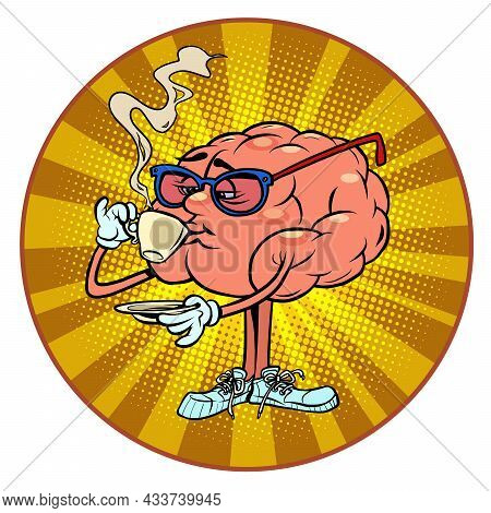 Drinking A Cup Of Hot Coffee Human Brain Character, Smart Wise