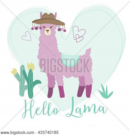 Enamored Purple Llama On A Mint Background. Cactus And The Inscription
