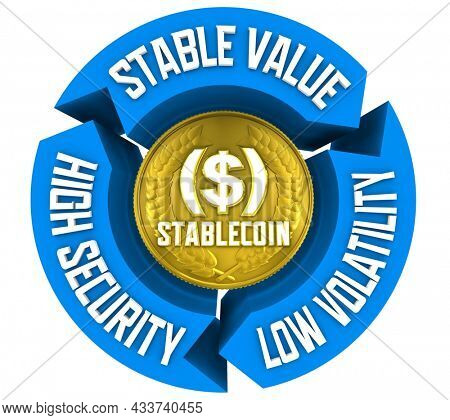 Stablecoin Stable Value Currency Security Low Volatility 3d Illustration