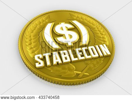 Stablecoin Cryptocurrency Money Digital Currency Stable Value Coin 3d Illustration
