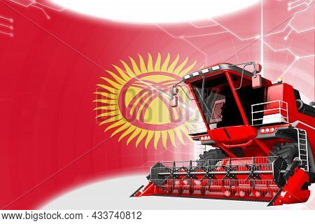 Digital Industrial 3d Illustration Of Red Advanced Grain Combine Harvester On Kyrgyzstan Flag - Agri