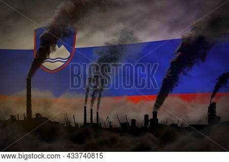 Dark Pollution, Fight Against Climate Change Concept - Industrial 3d Illustration Of Factory Chimney