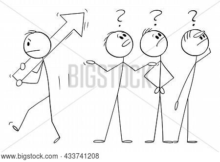 Group Of Confused People Looking Upward For Something, Vector Cartoon Stick Figure Illustration