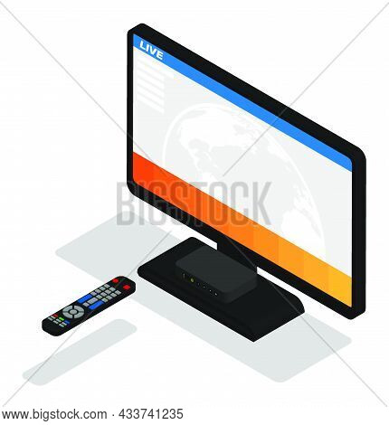Isometric Flat Screen Tv On Stand Receives Signal Of Satellite Box Control Panel. Smart Tv And Home