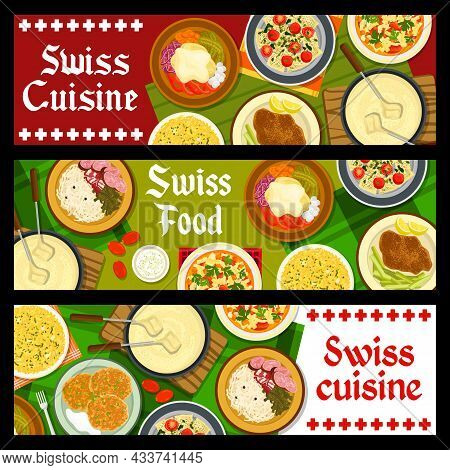 Swiss Food Restaurant Meals Banners. Raclette With Potatoes And Pickled Cucumbers, Schnitzel, Chard