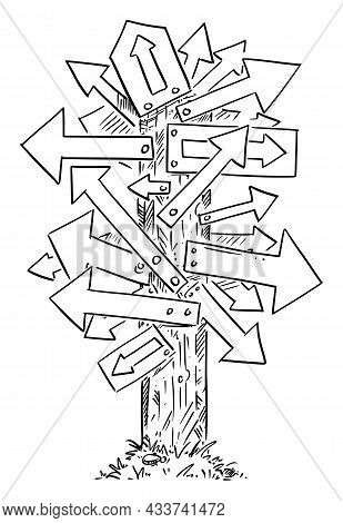 Confusing Signpost With Many Arrows, Decide And Choose Right Way , Vector Cartoon Illustration