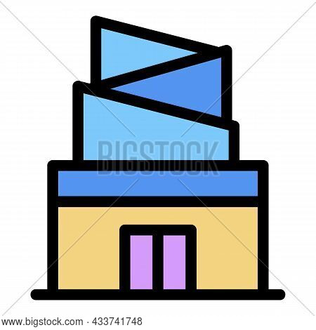 Modern Mall Icon. Outline Modern Mall Vector Icon Color Flat Isolated