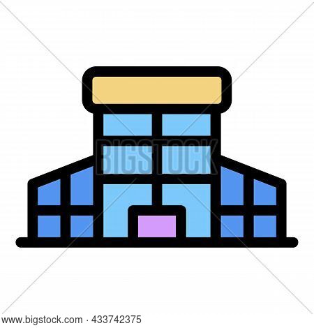 Glass Mall Building Icon. Outline Glass Mall Building Vector Icon Color Flat Isolated