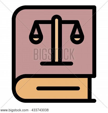 Law Book Icon. Outline Law Book Vector Icon Color Flat Isolated