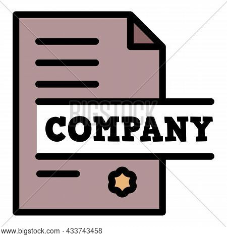 Law Company Icon. Outline Law Company Vector Icon Color Flat Isolated
