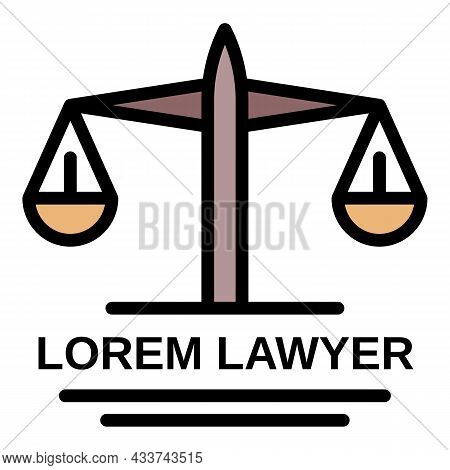 Lawyer Balance Icon. Outline Lawyer Balance Vector Icon Color Flat Isolated
